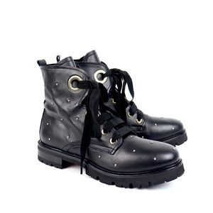AGL Studded Leather Combat Boots